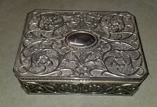 GODINGER LARGE SILVER PLATED JEWELRY BOX VELVET LINED FLORAL ART NOUVEAU VINTAGE