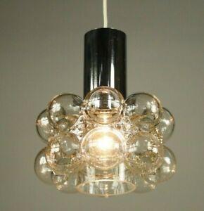 Limburg Bubble Glass & Chrome Pendant Lamp Helena Tynell Design 1960's - 70's