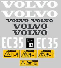 Volvo EC35 Aufkleber Bagger Komplettset mit Sicherheit Warnung
