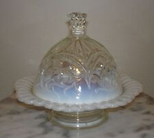 Dugan Circled Scroll White Opalescent Covered Butter Dish