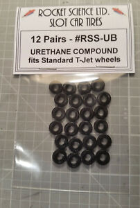 Aurora HO T-Jet Black Urethane tires #RSS-UB 12 pairs - Made in USA