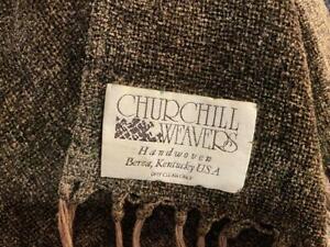 "Churchill Weavers Handwoven Brown Throw Blanket Long Fringe 48"" X 68""  VERY SOFT"