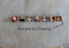 Marilyn Monroe Bracelet VTG Glass Portrait Altered Art Charm Hollywood Star