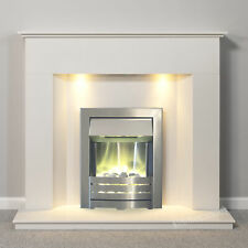 WHITE MARBLE SURROUND SILVER ELECTRIC FIRE PEBBLES FIREPLACE SUITE DOWNLIGHTS