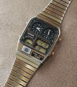 vintage citizen 8982-085027 ana-digi temp gold quartz watch japan from 1983