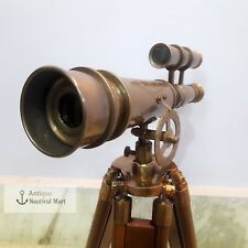 Brass Antique Telescope Double Barrel With Wooden Tripod London 1915 Style