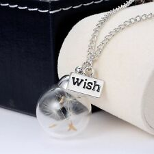 Chic Dandelion Seeds Lucky Glass Wishing Bottle Chain Necklace Pendant UK