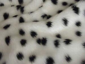 Luxury Animal Fun Faux Fur Fabric Material - DALMATIAN Furry Dog Spots