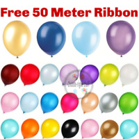 "100 PCS HELIUM Pearlised Latex Balloons 12"" Wedding Birthday Party Theme Baloons"