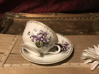 Vintage Tea Cup & Saucer Set Purple Violets w/Gold Trim
