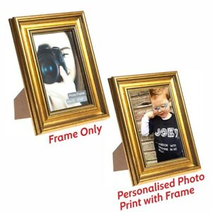 """Personalised Photo Frame 6"""" X 4 """" Gold Antique Finish With Picture Print Service"""
