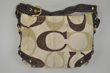 COACH Carly Tonal C Brown Beige Woven Strap Shoulder Purse Bag HOBO Signature