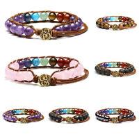 Adjustable Genuine Gemstone Chakra Bead 7 Stone Macrame Bracelet Reiki Healing