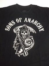 "SONS OF ANARCHY Black T-Shirt GRIM REAPER ANARCHY ""A"" SCYTHE Chest Title XL"