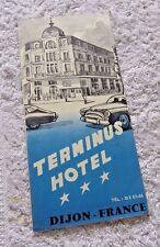 VINTAGE PAMPHLET TERMINUS HOTEL DIJON FRANCE BURGUNDY WINES UNIQUE ROOMS c.1950