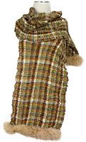 Schal 100% Wolle wool scarf Kaninchen Fell Rabbit fur Tartan Karo Beige Olive