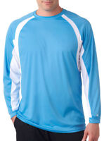 Badger Men's Hook Performance Long Sleeve Contrast Side Panel T-Shirt. 4154