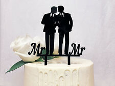 Mr & Mr Gay Wedding Cake Topper - Same Sex Marriage Grooms Silhouette Toppers