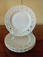 NEW, SET OF 4 CREAM PIERCED DESSERT PLATES, UNBRANDED