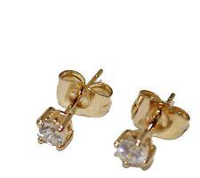 4mm Cubic Zirconia 18K Gold Plated Earring Cubic Zirconia 4mm - Kids Earrings