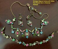 Vintage Parure Hollycraft Pastel Rhinestone Set Necklace Bracele Earrings 1950s