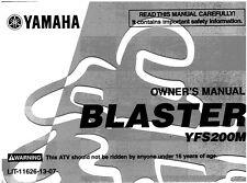 Yamaha Owners Manual Book 2000 BLASTER 200 YFS200M