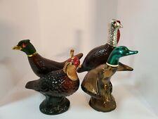4 Vintage Avon Brown Glass Bird Decanters (Pheasant,Quail,Duck,Turk ey) exl