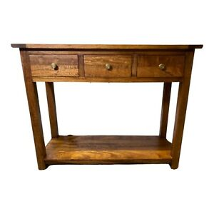 John Lewis Solid Wood Light Brown Console Table With Three Drawers And A Shelf