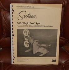 "Digital PDF Instruction Book By 3M Sasheen S-13 ""Magic Bow"" Tyerr"