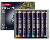 24 Colours Derwent INKTENSE Watercolour Pencils in Tin Art Adult Colouring Books