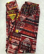 LuLaRoe OS Legging Pyramid Hieroglyph Red Tribal Print Triangle Chevron Striped