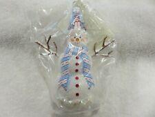 """Patricia Breen Ornament """"Morton Street Snowman - Blue/Red"""" 2007 Neiman Marcus"""