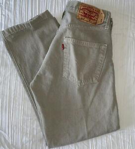 LEVI STRAUSS Men 501 Original Straight 100% Cotton Denim Jean 30x30 Gray Button