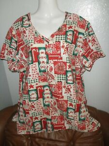 Ladies Scrubs Top, CHRISTMAS CANDY, Cool Cotton, Plus - size 1X ? (no tag)