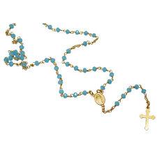 Collana rosario cm 50 in argento 925 placcato oro giallo con cristalli turquoise