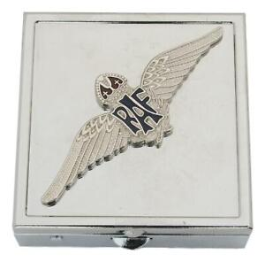 RAF Sweetheart Wings Square Pill Trinket Box Chrome with Mirror Gift ME2