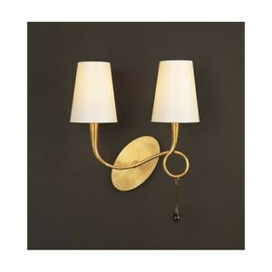 Wall Light Classic Gold With Shades Cream