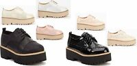 NEW WOMENS PLATFORM LACE UP LADIES FLATS BROGUE PUNK GOTH SHOES SIZE 3-8