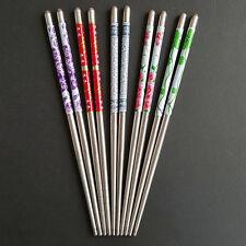 5 Pairs Stainless Stee Chopsticks Chop Sticks Gift Set Assorted Home Garden