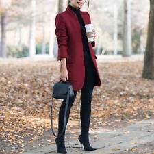 Damen Wollmantel Warm Sakko Freizeitblazer Langgröße Auzugjacke Business Mantel