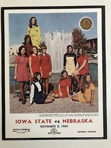 "1969 NEBRASKA CORNHUSKERS vs IOWA STATE CYCLONES 11""x14"" FOOTBALL Program Poster"