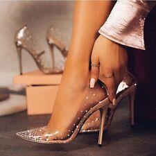 Moda Estrás Transparente Tacones Altos Para Mujer Zapatos Fiesta Boda De Oro