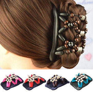 Women's Magic Wood Beads Hair Comb Double Slide Stretch Hair Clip Hairpin