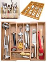 Expandable Bamboo Cutlery Holder Utensil Tray Office Desk Drawer Organiser