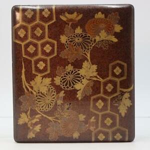 Japanese Antique wooden Nashiji Gold Makie box WBX66
