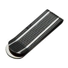 Fermasoldi in acciaio placcato rutenio con strisce bianche verticali
