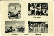 Romania Hungary 1940 PC Bözöd BEZID Mures  CHURCH, Jakab  shophouse, street