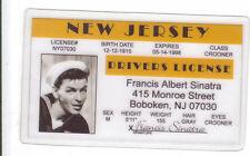 Frank Sinatra Boboken New Jersey Nj novelty collectors card Drivers License