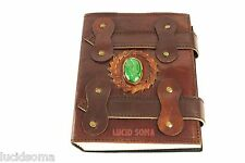 7x5 Leather Journal diary sketchbook Celtic Book of Shadow wicca straps & stone