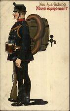 German Soldier New Uniform Beer Keg Sausage & Mugs c1910 Postcard